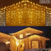 300Leds Icicle string lights, Window Curtain Icicle String Light white cable,icicle lights for Home Garden  Outdoor Indoor Wall icicle Decorations