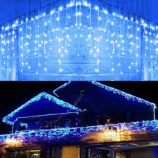 300Leds Christmas Icicle Lights, Curtain String Lights with Parts Twinkle bulbs For Windows Decoration, Low Voltage icicle Fairy Lights For party,Wedding,Garden,Holiday