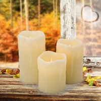 Jumping Flame LED Candle Light flickering Flame With Wax Pillar, Flameless Battery Operated LED Lights
