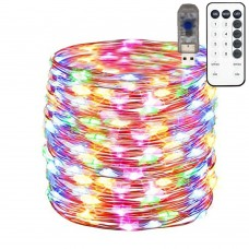 USB Powered Copper Wire lights string 100 LED 10 meter,timer and dimmable remote control,multicolor