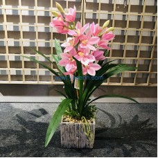 Decor Potted Flower Artificial Orchid Potted Plants For Home Decor Office Desk Shower Room Decoration