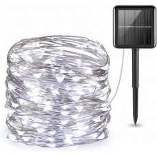 Solar Powered Copper Wire String Lights, Mini 100 LED Copper Wire Lights, Fairy Lights, Outdoor Waterproof Solar Decoration Lights for Gardens,Party, Christmas (Cool White)