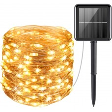 Solar Powered Copper Wire String Lights, Mini 100 LED Copper Wire Lights, Fairy Lights, Outdoor Waterproof Solar Decoration Lights for Gardens,Party, Christmas (Warm White)
